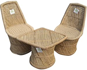 Ecowoodies Bamboo Nettle Eco-Friendly Handicraft Cane Wood Furniture Set (2 Chairs and 1 Table)