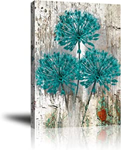 Giclee Canvas Wall Art for Home Decoration, Abstract Canvas Wall Decor, Modern Paintings Picture Decorative Artwork for Livingroom Bedroom Bathroom 16x20 (Teal Brown Rustic Distressed Flower)