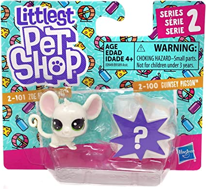 Hasbro Toys Mystery pet Littlest Pet Shop Series 2 2-101 Zoe Housemouse and 2-100 Guinsey Pigson