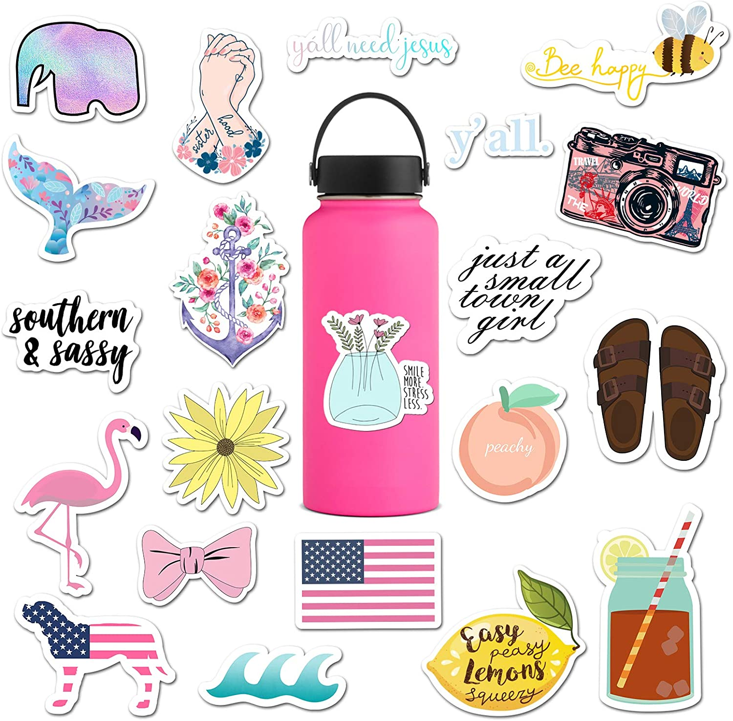 The Carefree Bee - 20 Preppy Southern Sorority Stickers for Water Bottles, Laptops (Series 5)