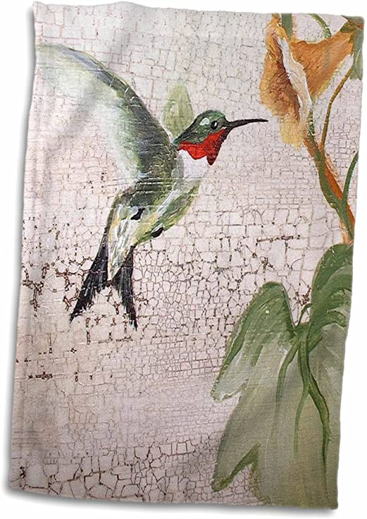 3D Rose Hummingbird by Yellow Trumpet Flower on Crackled Background TWL/_44373/_1 Towel 15 x 22