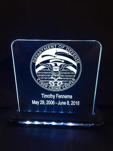 Amazon com: Custom Award Plaque LED Edge Lit Acrylic Laser Engraved