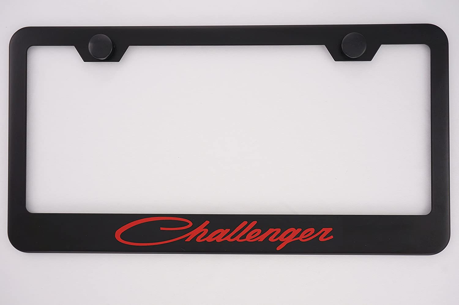 Dodge 3D Black Stainless Steel License Plate Frame Rust Free W Caps