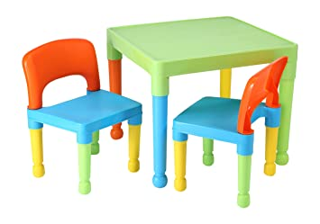 liberty house toys children s table and 2 chairs set plastic multi