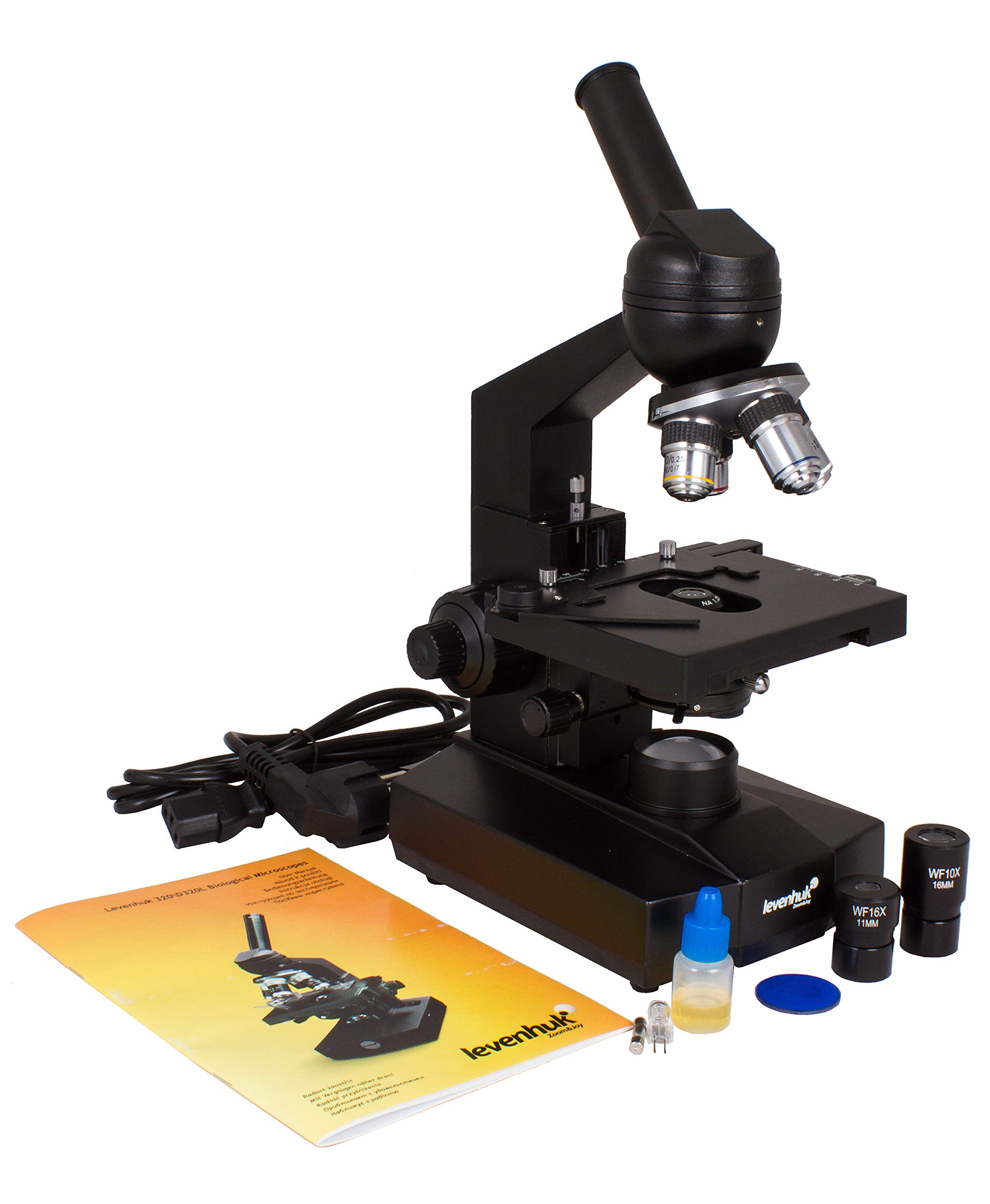 Levenhuk 320 Biological Microscope with 40-1600x Magnification for Slice Observation in the Transmitted Light (Immersion Oil in the Kit) by Levenhuk
