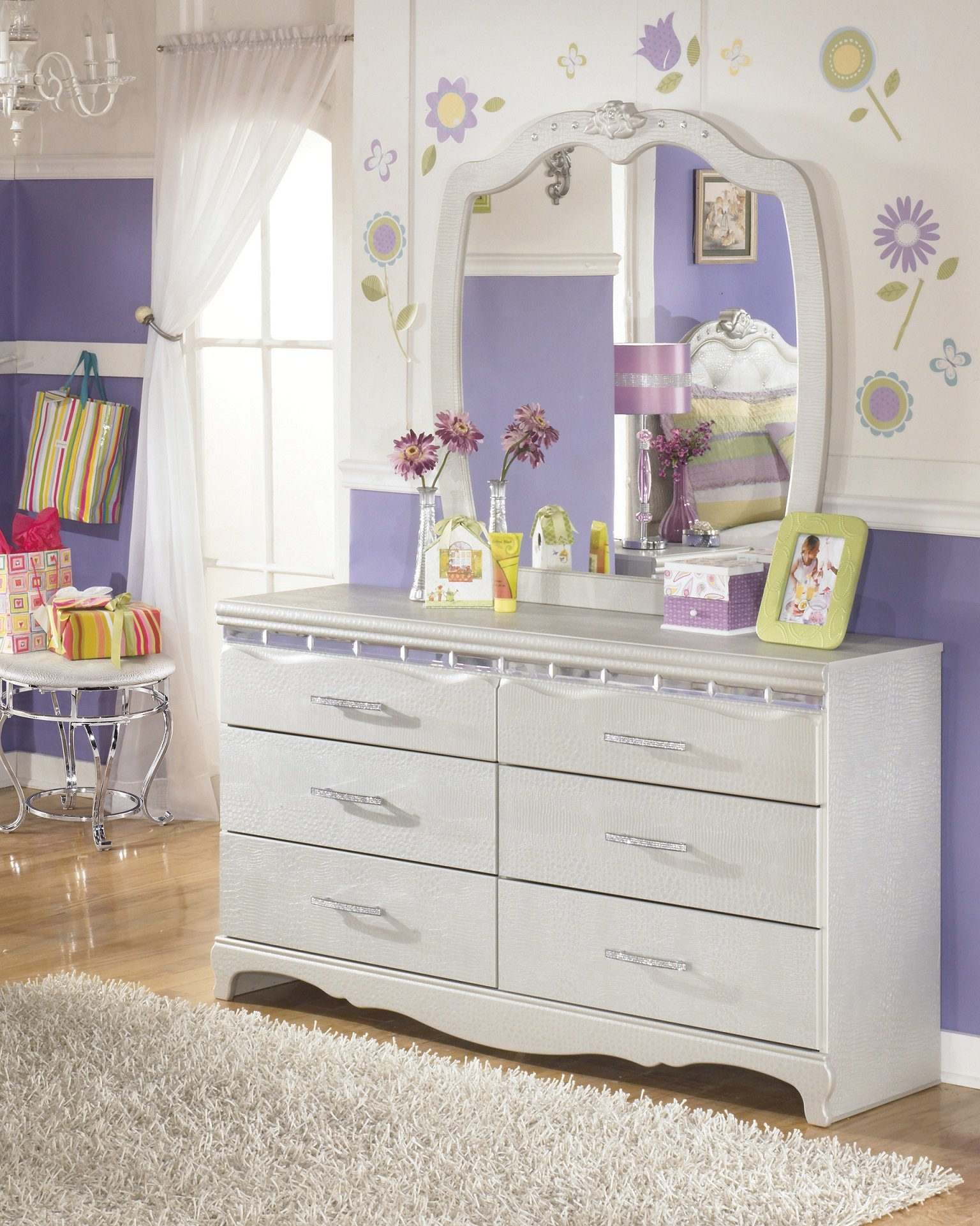 Julia Girl's Bedroom Silver and Pearl Dresser Mirror