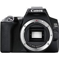 Canon EOS 250D Digitale Spiegelreflexkamera (24,1 Megapixel, 7,7 cm (3 Zoll) Vari-Angle Display, APS-C-Sensor, Dual Pixel CMOS AF, 4K, Full-HD, DIGIC 8, WLAN, Bluetooth) Gehäuse Body schwarz