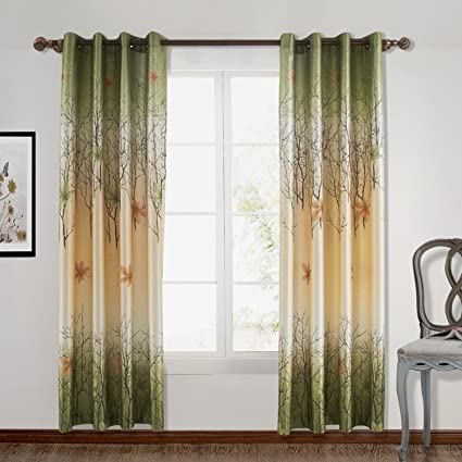 Prime Chadmade Maple Leaf Print Polyester With Blackout Lined Window Curtain Drape Antique Brone Grommet 50 W X 102 L 1 Panel For Bedroom Living Room Andrewgaddart Wooden Chair Designs For Living Room Andrewgaddartcom