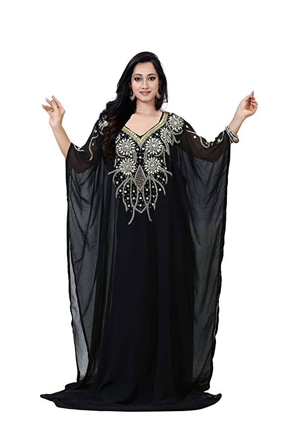 Vintage Evening Dresses and Formal Evening Gowns KoC Womens wear Dubai Kaftan Farasha Caftan Long Maxi Dress Abaya Jalabiya $53.00 AT vintagedancer.com