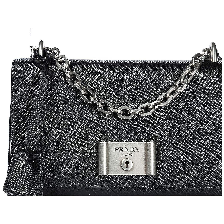 019f48c37c38 Amazon.com: Prada Women's Saffiano Lux Shoulder Bag Black: Clothing