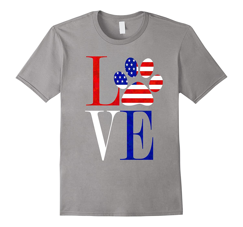 Gorgeous red white blue LOVE shirt USA flag dog paw print