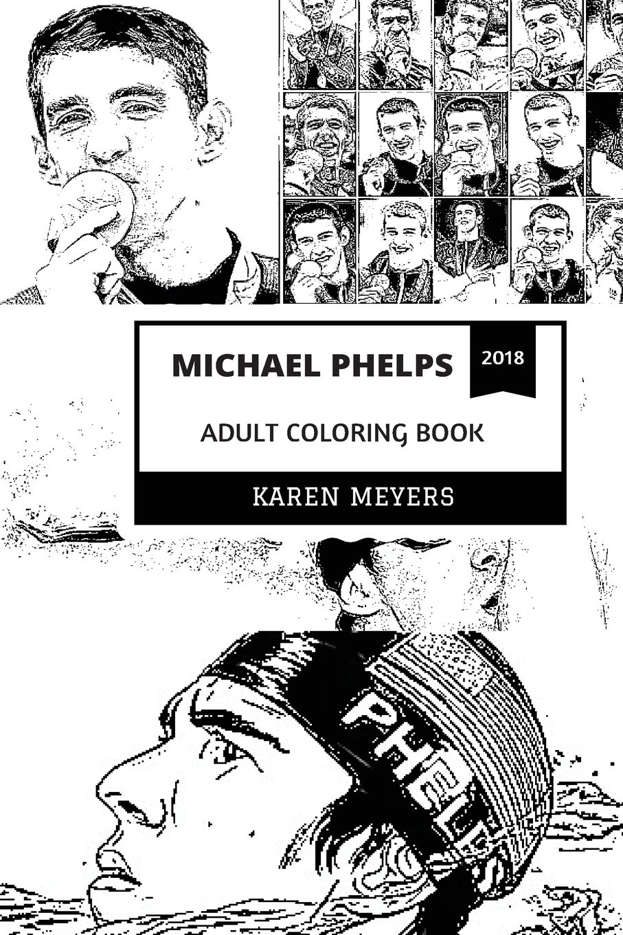 Michael Phelps Adult Coloring Book Best American Olympian