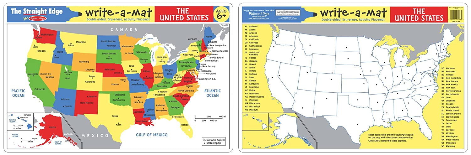 Amazoncom Melissa Doug The United States WriteAMat placemat