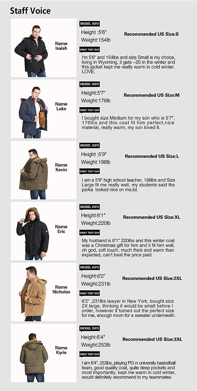 Gmardar Mens Winter Warm Faux Fur Lined Coats Jackets Parka with Detachable Hood Winter