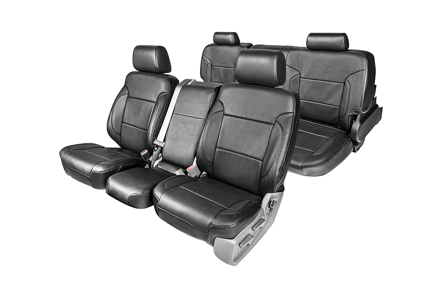 Clazzio 750312blk Black Leather Front and Rear Row Seat Cover for Chevrolet Silverado 1500//2500//3500 Extended Cab