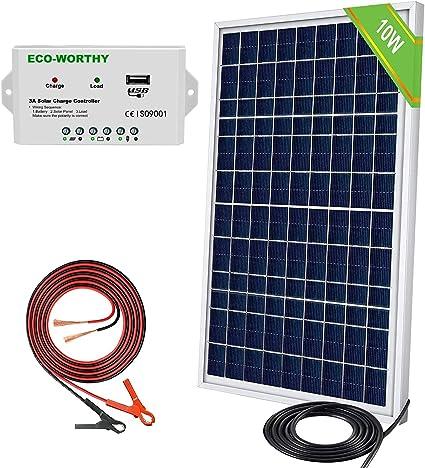 Eco Worthy 10 W 12 V Tragbares Wasserdichtes Pv Polykristallines Solarmodul Set Mit Laderegler Und 30 A Batterie Clip Adapter Garten