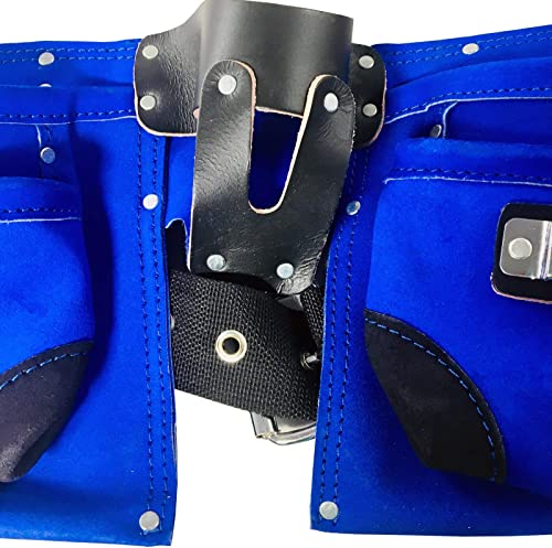 7 Pocket Double Tool Belt with Heavy Duty Belt with Quick Release, Blue