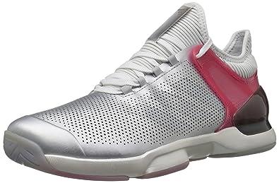 hot sale online 7e7f8 5d083 adidas Mens Adizero Ubersonic 2 LTD Tennis Shoe Matte SilverReal PinkWhite  6.5