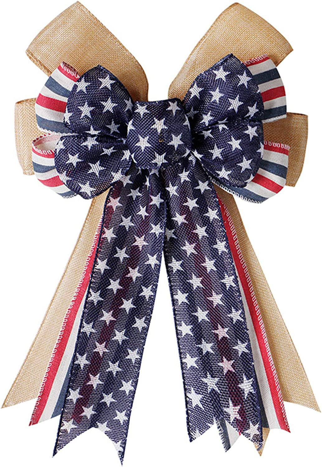 ASSUN Patriotic Bow, Red White Blue Stars Burlap Bow Wreath Bow Holiday Bow for Memorial Day, 4th of July, Independence Day, Veteran's Day, Indoor Outdoor Decorations