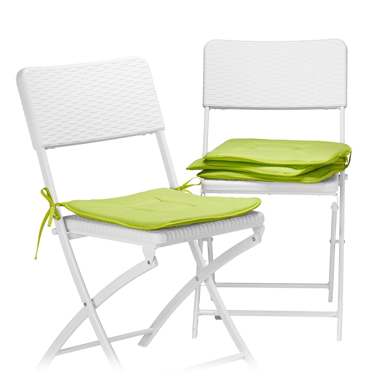 Relaxdays Cojines Sillas Jardín Cuadrados, Poliéster, Verde, 38 x 38 cm