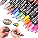 Dyvicl Metallic Markers Paint Markers, Medium Point Metallic Paint Pens for Rocks, Halloween Pumpkin, Wood, Fabric, Glass, Ce