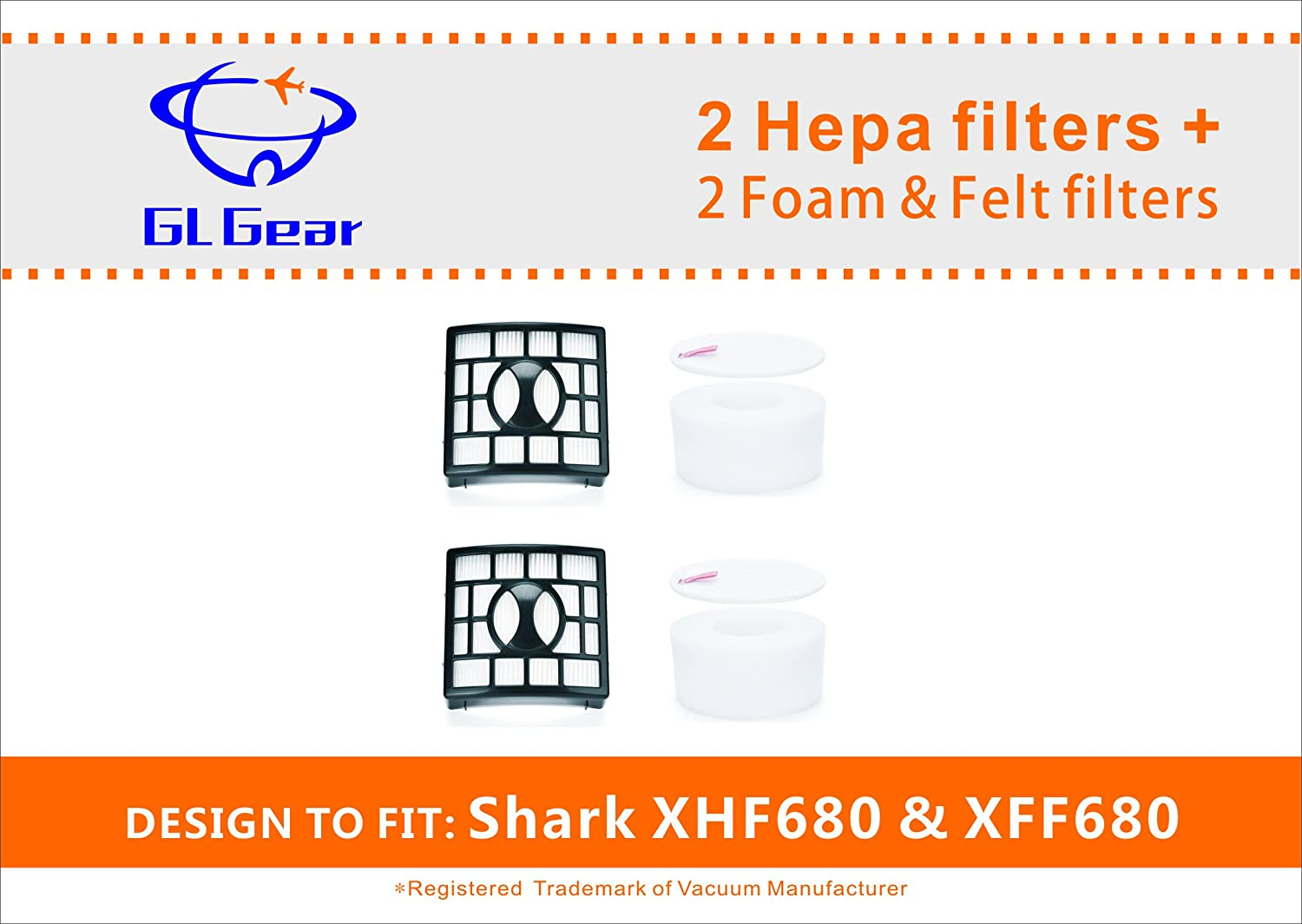 2 HEPA Filter and 2 Foam & Felt Filter for Shark Rotator Powered Lift-Away Speed & DuoClean Vacuum Cleaner NV680, NV681, NV682, NV683, NV800, NV800W, NV801,UV810 Replaces Part # XFF680 & XHF680--GL Gear