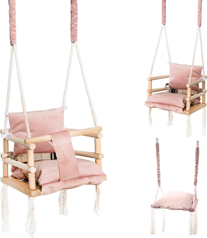 ISO TRADE Columpio para bebé Asiento de bebé Tela Madera Techo Techo 3in1 Gris Rosa 8336, Farbe / Color:Rosa / Pink