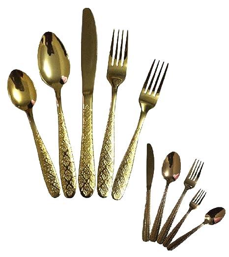 5pcs dorado, cobre color de acero inoxidable cuchara de mesa, de comedor cocina UTENCIL