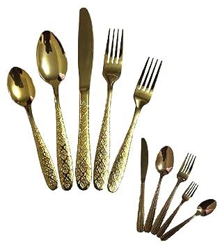5pcs dorado, cobre color de acero inoxidable cuchara de mesa, de comedor cocina UTENCIL partido, boda, casa - Juego de cubertería dorado: Amazon.es: Hogar