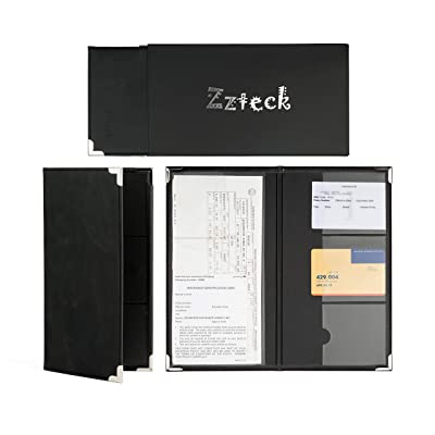 Zzteck Car Registration Card Holder and Insurance - for Auto Truck Glove Box Console Documents Organizer Premium PU Black Leather Wallet Case: Automotive