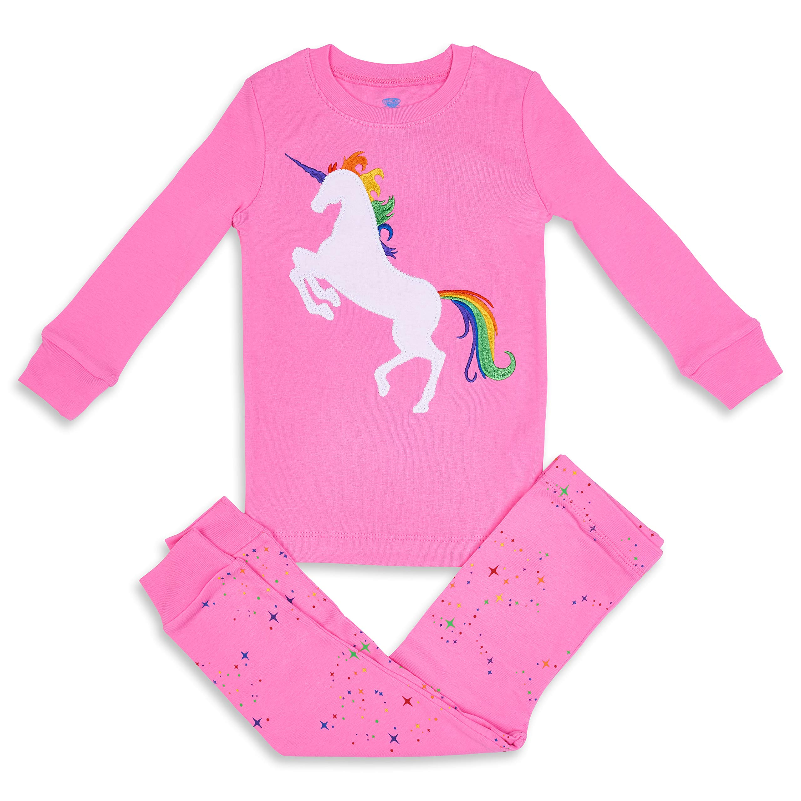 Girls Pajamas Unicorn Pegasus Lips 2 Piece 100% Super Soft Cotton (12m-8y) by Bluenido (Image #1)