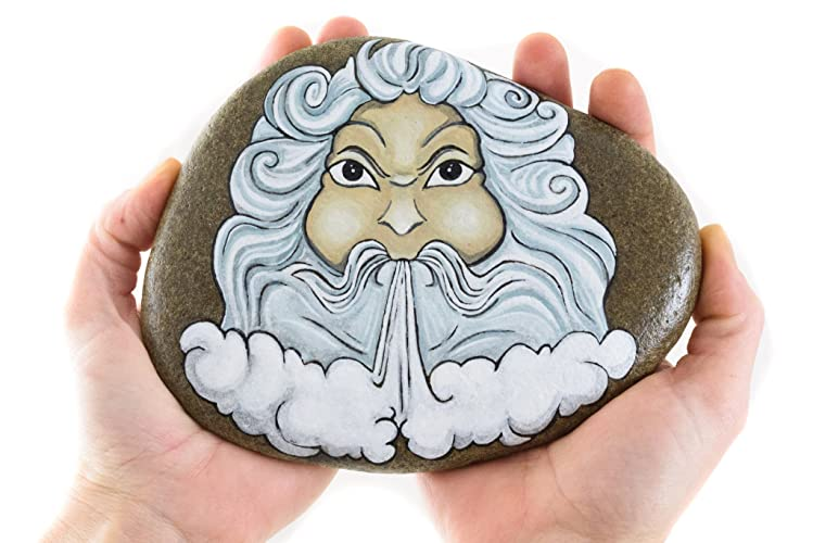 Hand Painted Stone With Aeolus God Of Wind Amazon Handmade