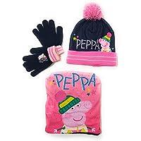 E PLUS M Gorro, Bufanda tubular y Guantes Peppa Pig para niñas - Set de invierno Peppa Pig Gorro, Braga de Cuello con…