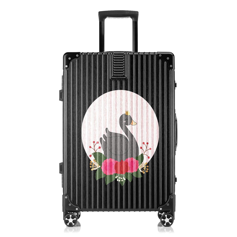 GSHCJ スーツケース カッコイイ動物 白鳥 キャリーケース 20インチ おしゃれ ブラック Tsaロック搭載 プリント ハード 超軽量 軽い 機内持込 ロックファスナー 旅行 ビジネス 出張 海外 修学旅行 丈夫 便利 レディース メンズ 学生 B07RZ7RQVC