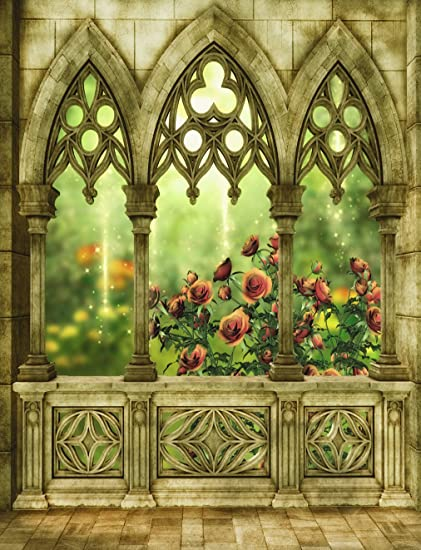 Cartoon Castillo ventana telón de fondo para fotografía Vintage Flores Jardín pared de ladrillos de pared de piedra marrón hada telón de fondo para estudio fotográfico, fondo impreso 5 × 7 ft: