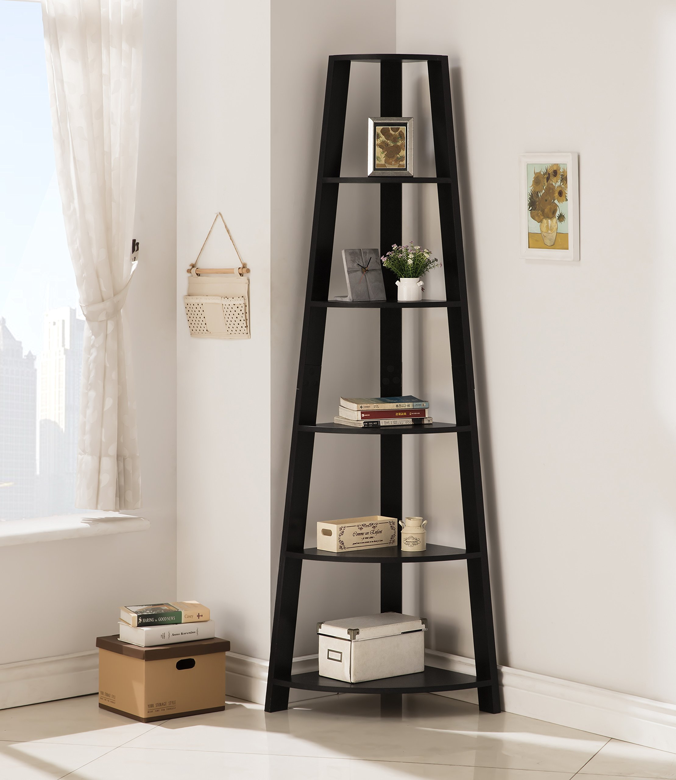 Black Finish Wood Wall Corner 5-Tier Bookshelf Bookcase Accent Etagere by eHomeProducts