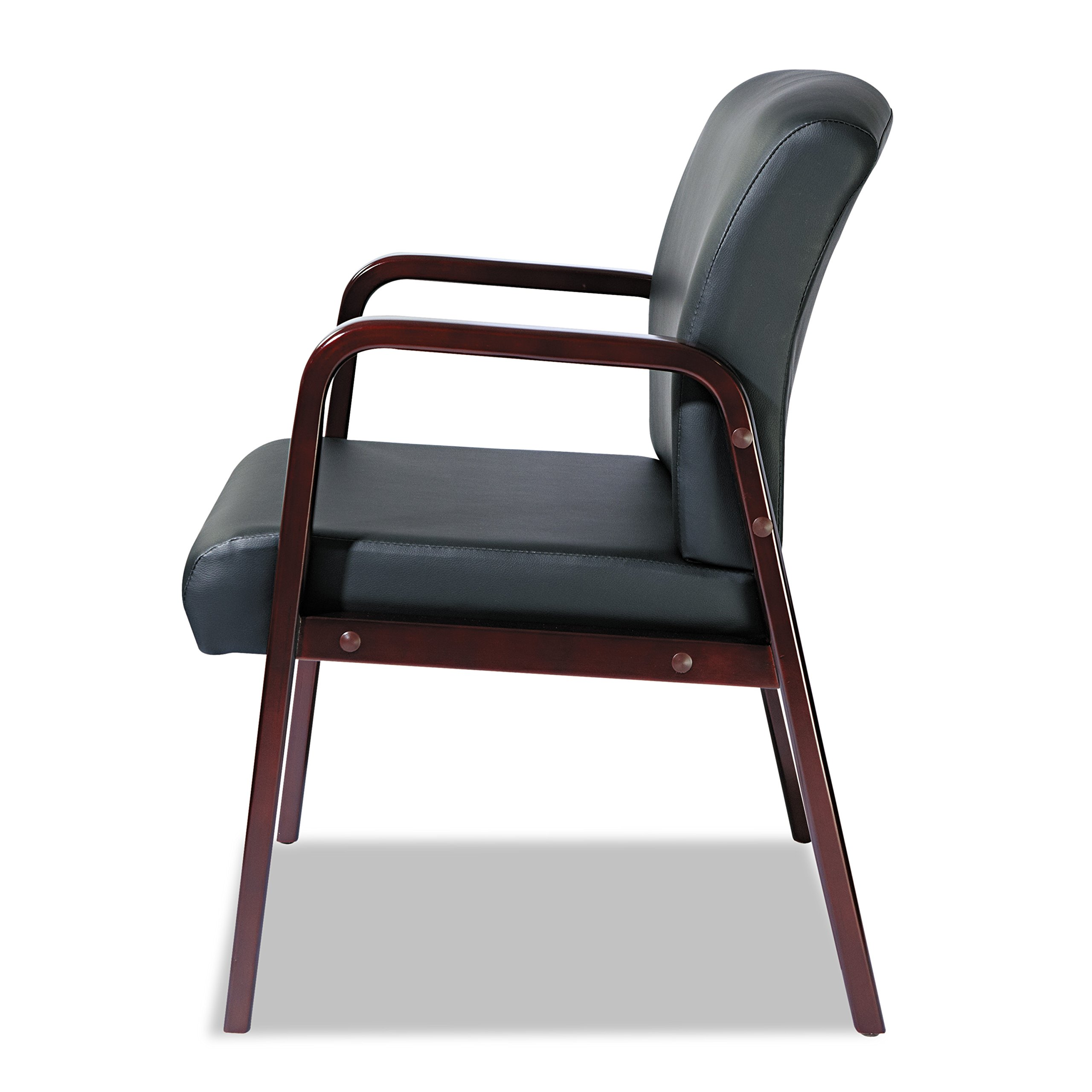 Alera ALERL4319M Reception Lounge Series Guest Chair, Mahogany/Black Leather by Alera (Image #10)