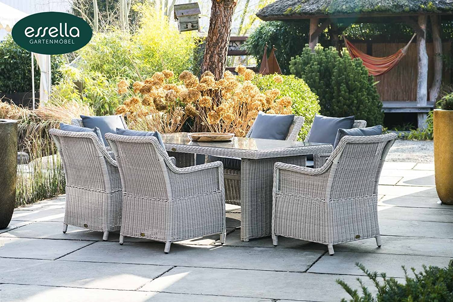 polyrattan sitzgruppe dubai 6 personen rundgeflecht vintage weiss gartenm bel. Black Bedroom Furniture Sets. Home Design Ideas