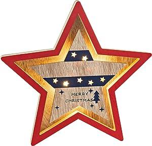 Zilo Novelties Rustic Christmas Decorations| Country Christmas Decor | Farmhouse Christmas Decor | Patriotic Christmas Star Large LED Light Up for Mantle or Tabletop Christmas Decor