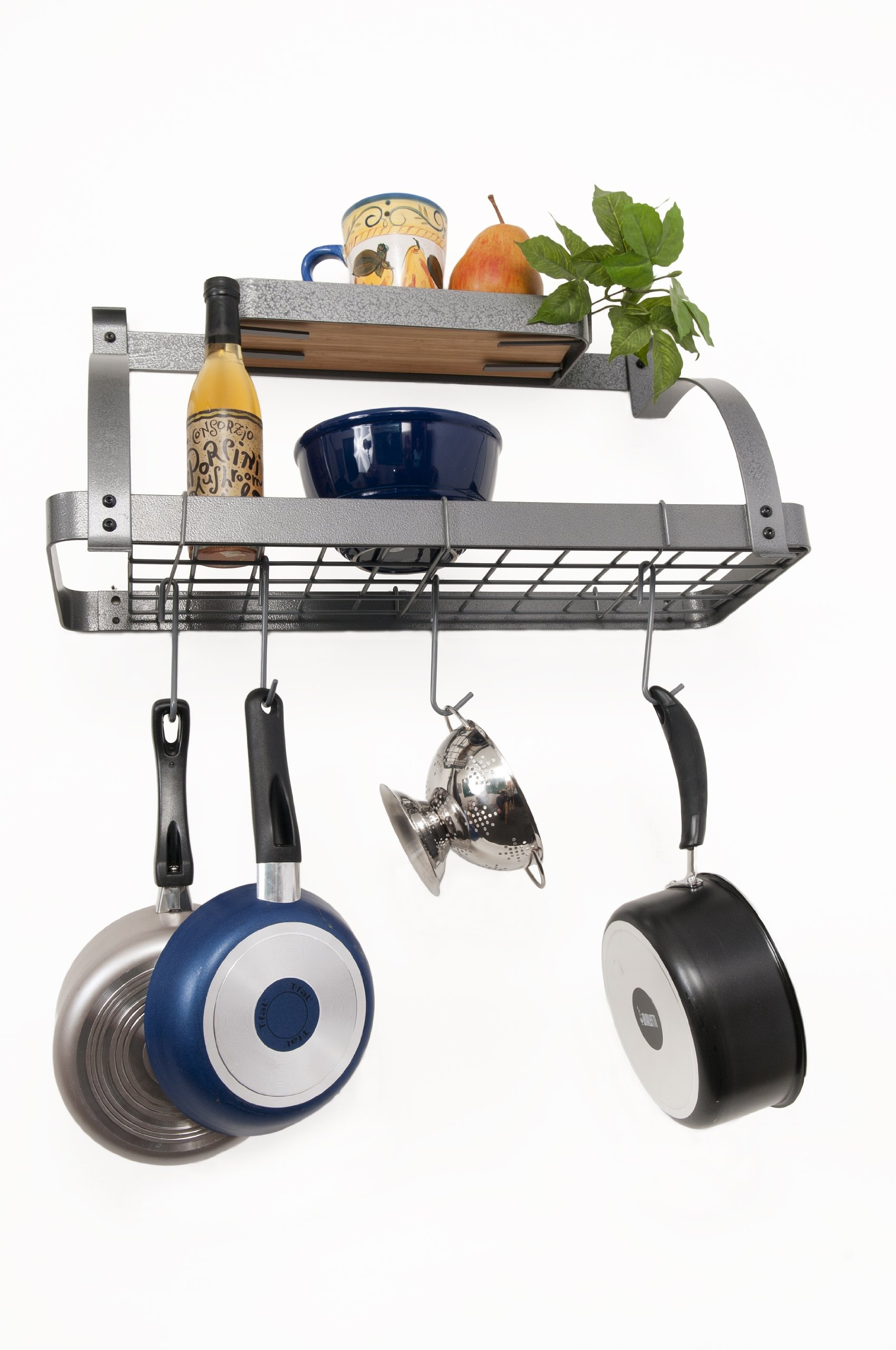Rack It Up  Bi-Level Bookshelf Wall Pot Rack, Steel Gray Hammertone