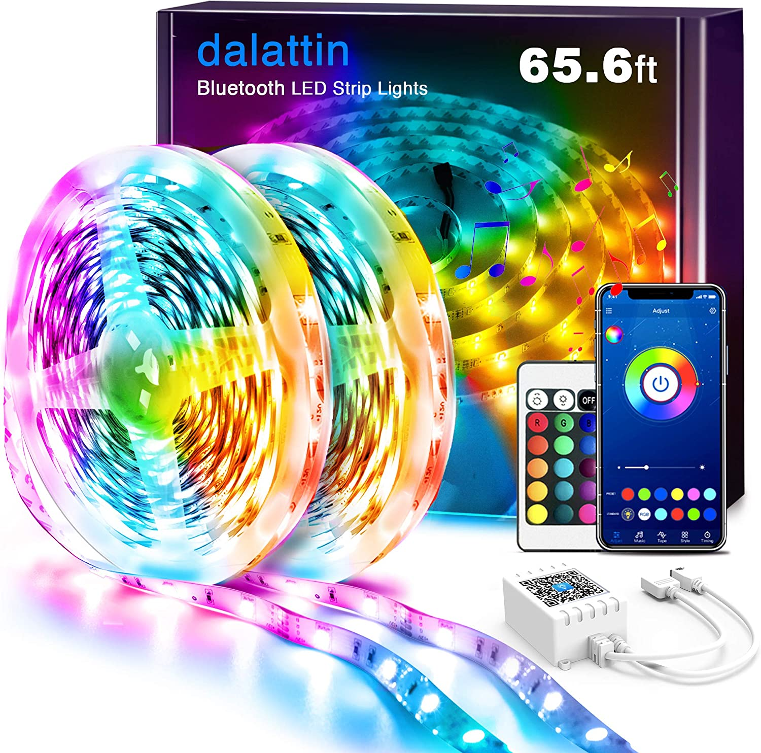 LED Lights for Bedroom Bluetooth 65.6ft Dalattin Smart LED Strip Lights Sync to Music Color Changing Lights 5050 RGB with APP Control,Remote for Room,Kitchen,Party