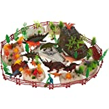 100-Pack Dinosaur Toy Set Figurines - Realistic Plastic Toy Dinosaur Figures with Plastic Props for Children, Themed Parties, Decorations, Includes Carrying Case - 10.5 x 6.5 x 8.2 Inches