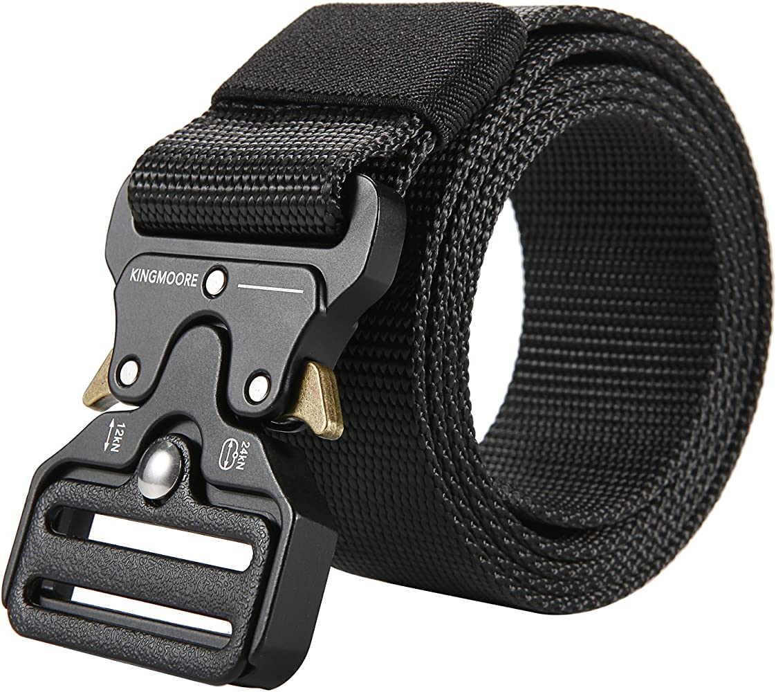 IDOGEAR 1.5 Inches Tactical Belt Mens Duty Belts Adjustable Military Nylon Webbing Combat Belt with Quick Release Insert Buckle Aluminum Alloy