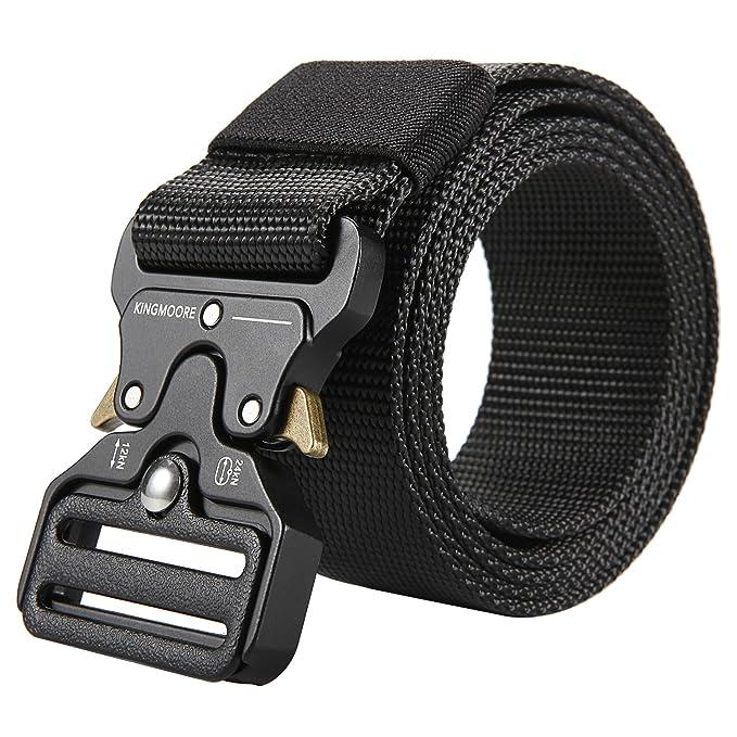 Men's Tactical Belt Heavy Duty Webbing Belt Adjustable Military Style Nylon Belts by King Moore