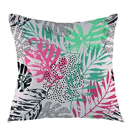 Marvelous Ofloral Leaves Throw Pillow Case Happy New Year Tropical Pillow Square Cushion Cover For Sofa Couch Home Car Bedroom Living Room 18 X 18 Turquoise Dailytribune Chair Design For Home Dailytribuneorg