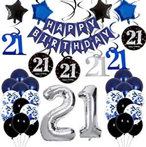 21st Birthday Decorations for Him/Her - Blue Birthday Decorations For Men Boys Party Supplies Including HAPPY BIRTHDAY Banner Balloons for Birthday Party Decor - 21st Bday Decorations for Women Girls