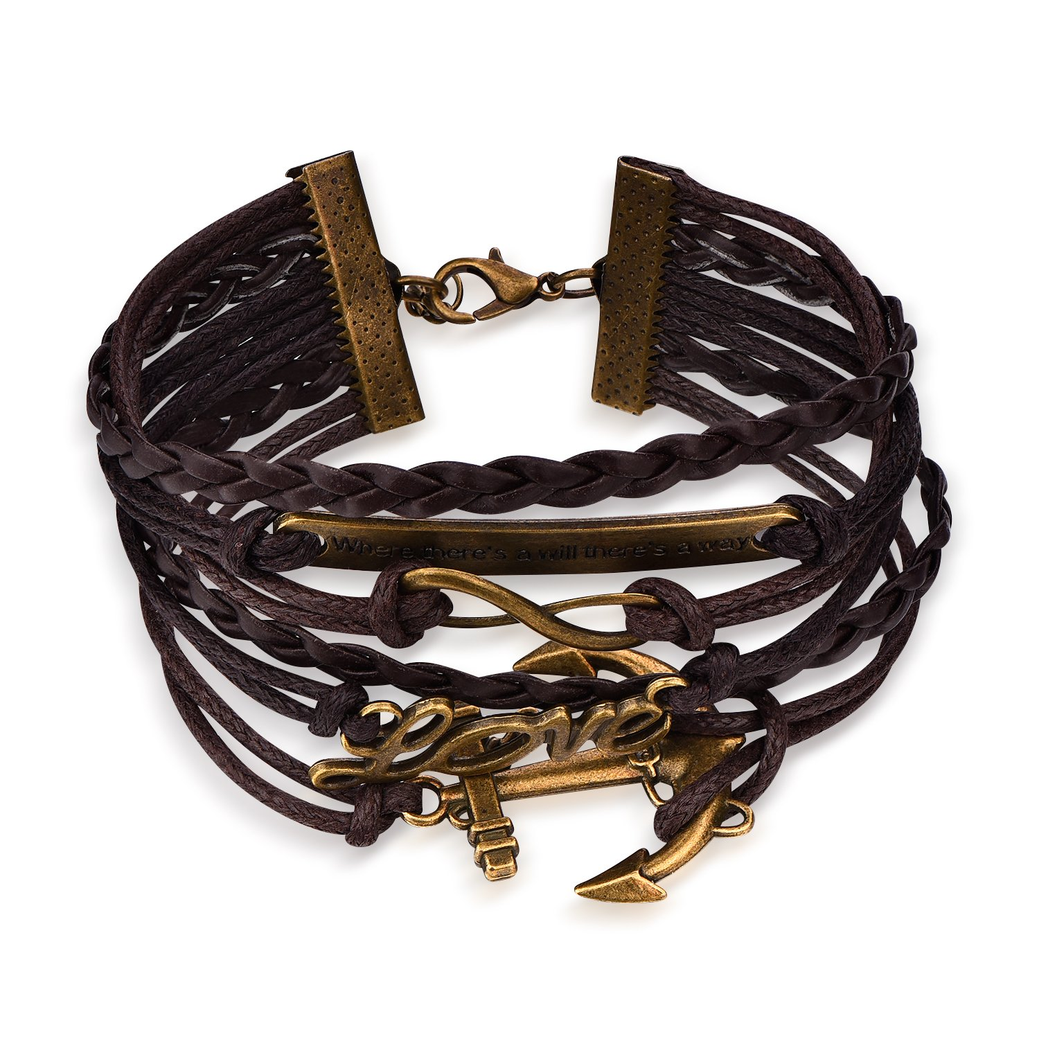 Boormanie Nautical Bracelet,Brass Infinity Love and Anchor Charm with Words Pendant Bracelet,Multi Strands Leather Bracelets Anchor Leather Wristband Bracelets