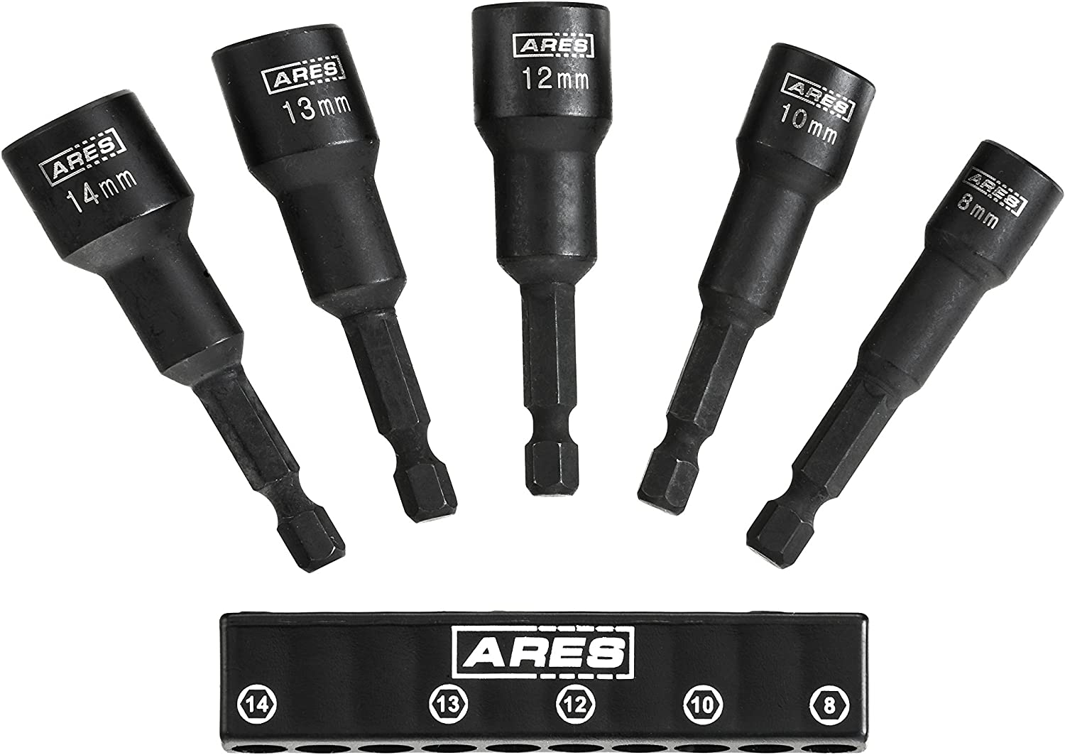 ARES 70029 - Metric Impact Magnetic Nut Driver Set - 2 1/2-Inch Impact Grade Nut Setter with Industrial Strength Magnet