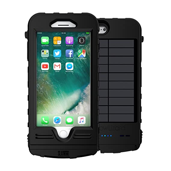 online retailer ab3e8 d12d7 SnowLizard SLXtreme iPhone 8 Plus Case. Solar Powered, Rugged and  Waterproof with a Built in Battery - Night Black. Also Works with iPhone 7  Plus.