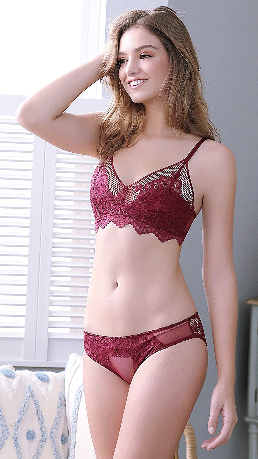SHEKINI Women Triangle Lace Bralette Set Non Wired Bra and Knickers Padded Bra and Brief Non Removable Bra and Panties with Adjustable Straps and Back Closure